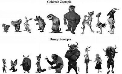 复制了戈德曼所设计的动画片《疯狂动物城》的重要元素,从背景设定